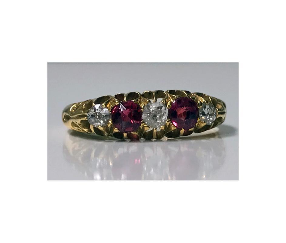 18K Diamond Ruby Ring, C. 1900.