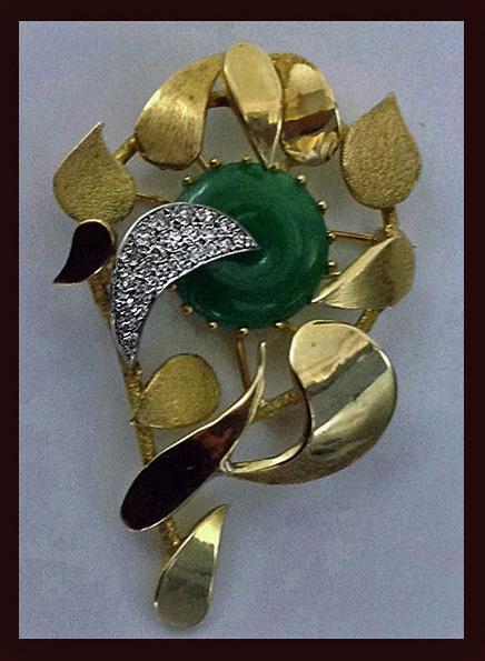 Jade Diamond 18K Brooch