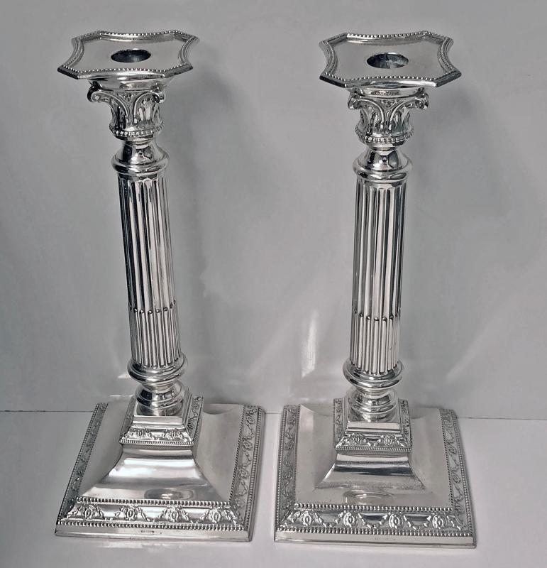 Pair Antique Silver Candlesticks, Germany, C.1900, H. Meyen & Co