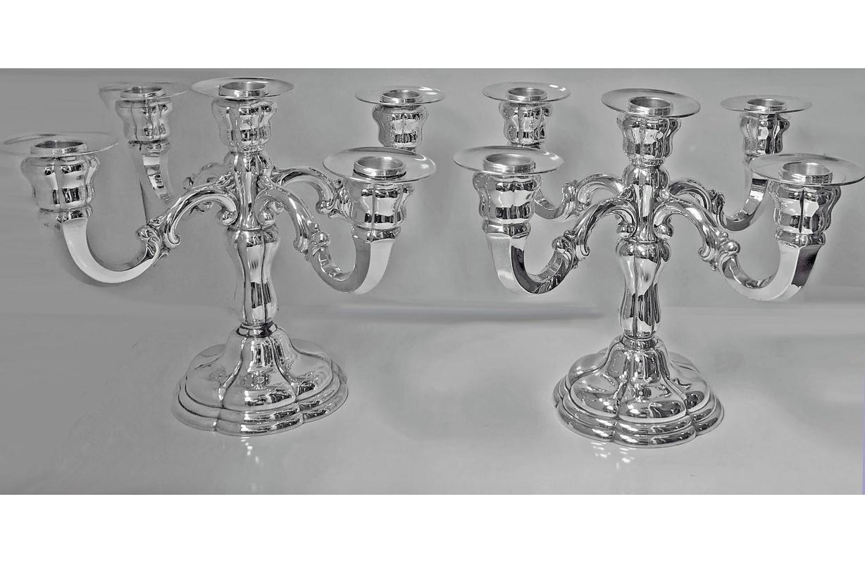 Pair of German Sterling Silver Five-Light Candelabra, C.1920
