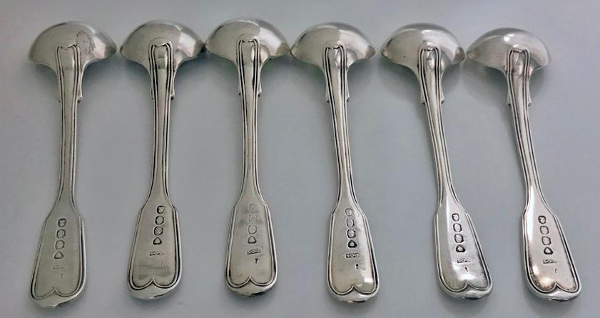 6 Georgian Silver Fiddle Thread Salt Spoons, London 1829, T.Savory