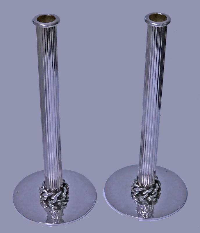 Jean Després pair of silvered metal candlesticks, Signed. C.1950