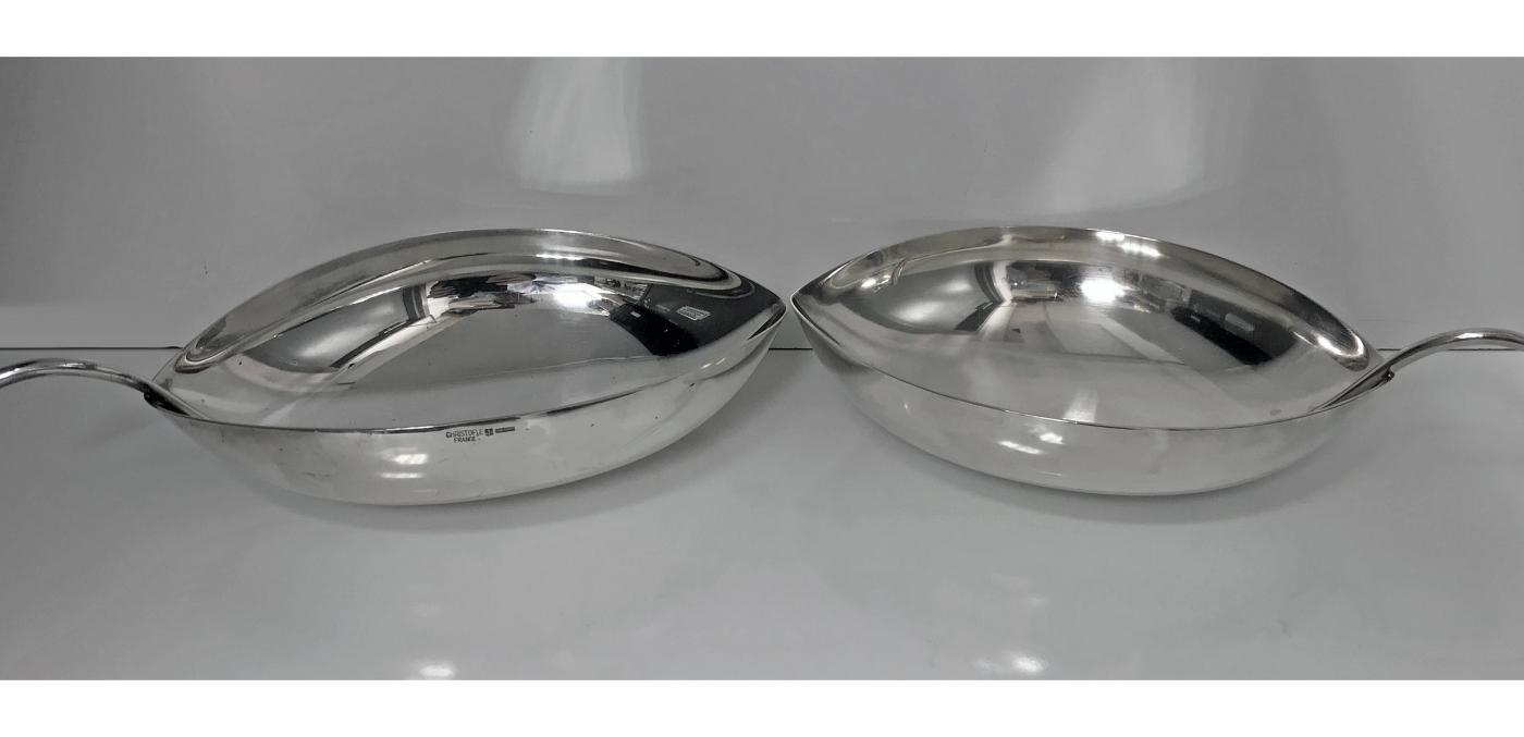 Pair of Christofle silvered metal bowls designed by Tapio Wirkkala (1915-1985) for Christofle