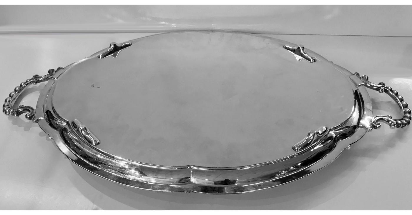 Antique Silver Plate Large Tray, Walker and Hall C.1890