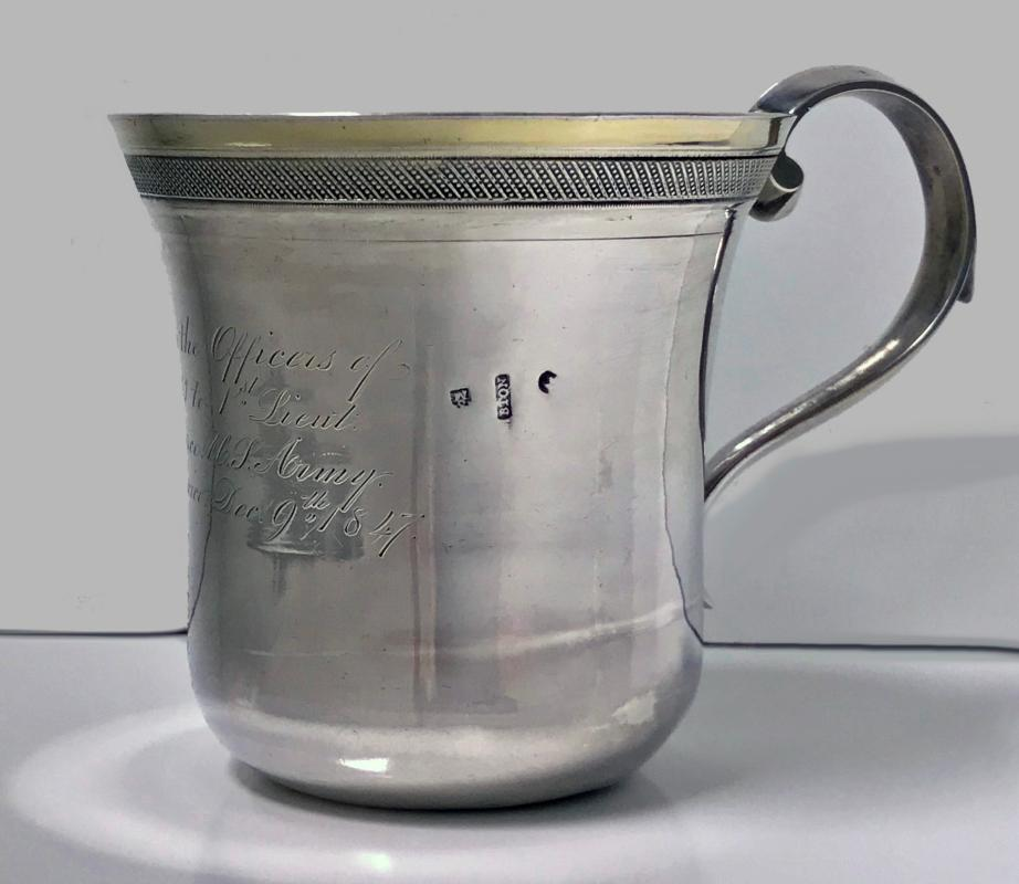 Regimental Spanish Colonial Silver Mexican 19th century Mug, C.1847.