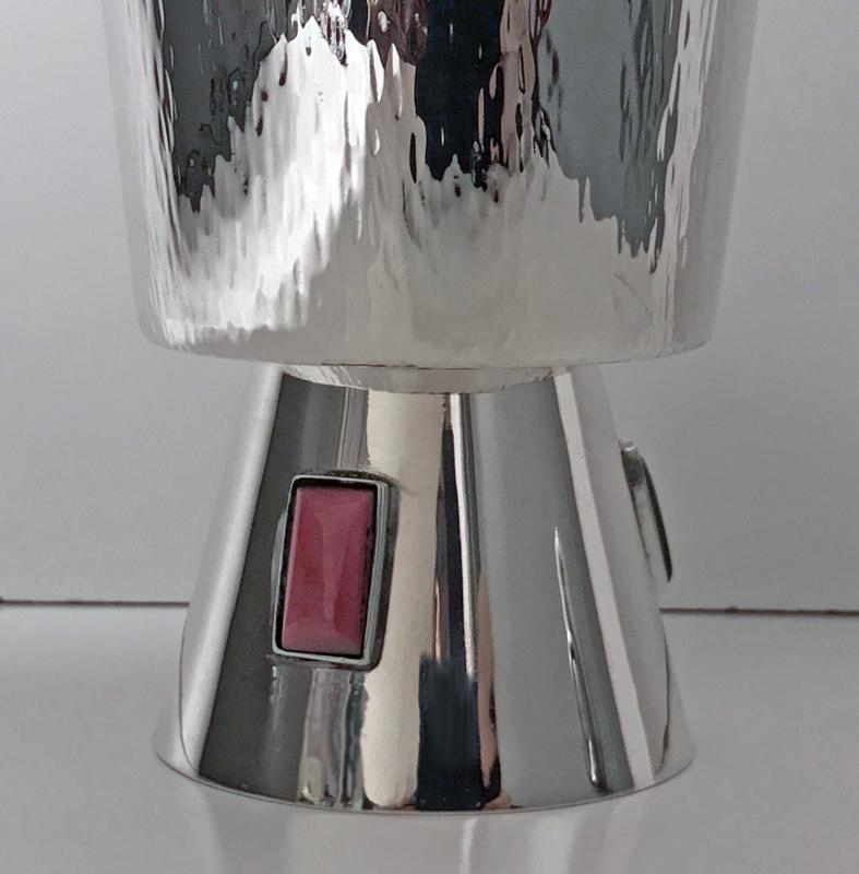 1970's Sterling Silver Goblet inset with agates, florentine bark texture.