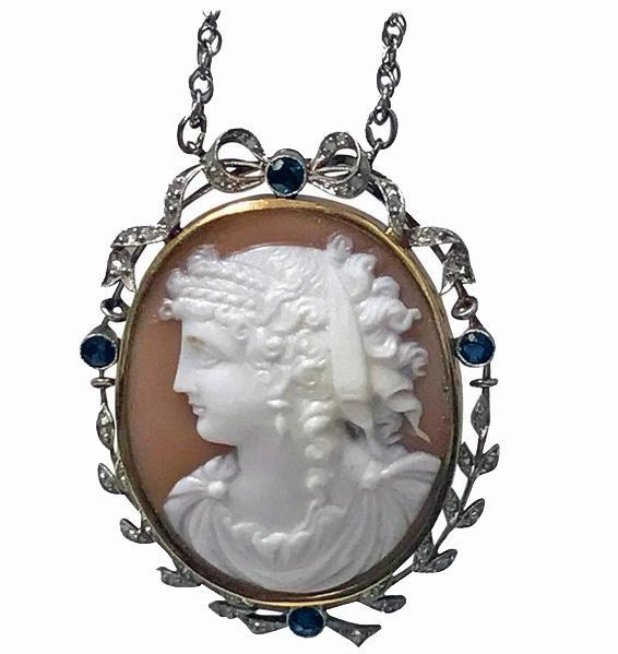 Antique Platinum 15K Cameo Pendant, Diamond Sapphire mount, English C.1920.