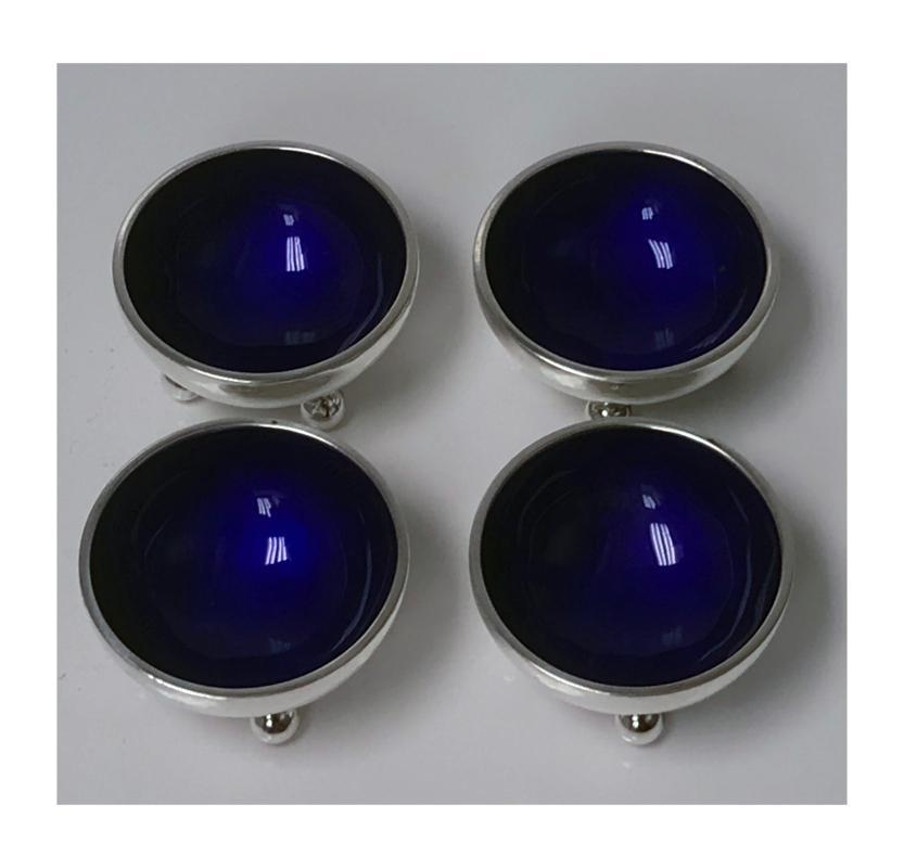 Four Georg Jensen Sterling Silver Salts with cobalt enamel interiors C.1960
