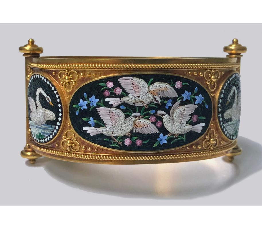 Rare Fine Cesare Roccheggiani Gold Mosaic Bangle Bracelet, C.1870