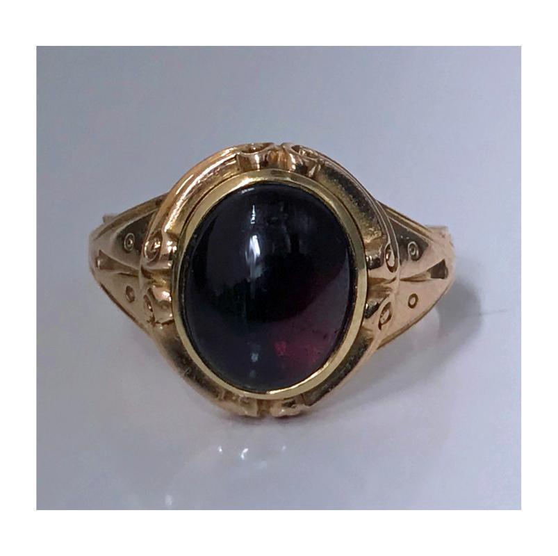 Antique 19th century 14K rose Gold carbuncle Ring, C.1880