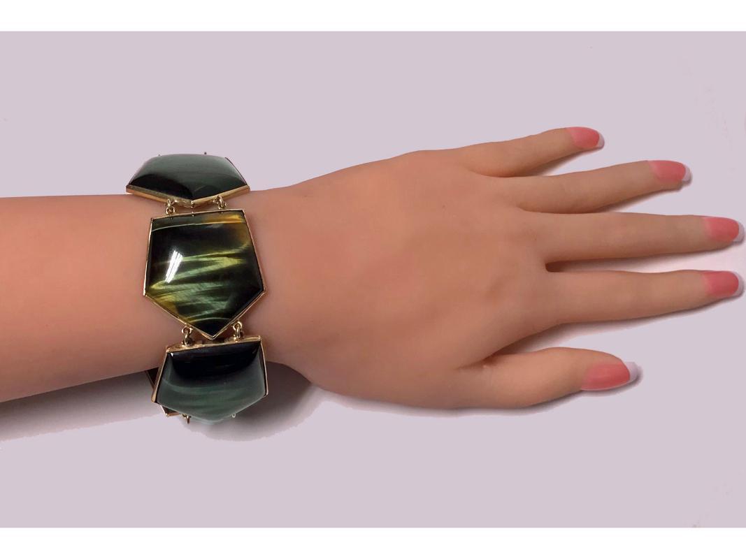 Mid century Modernism Scandinavian Gold and Labradorite Bracelet