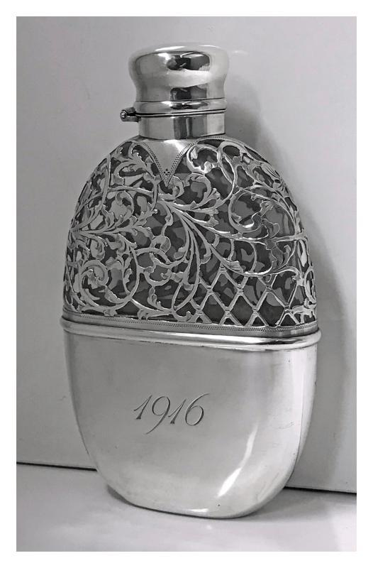 Sterling Overlay Hip Flask, American, C.1900