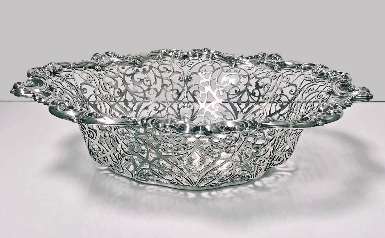 Large American Sterling Silver Basket Bowl Dish Gorham C.1897