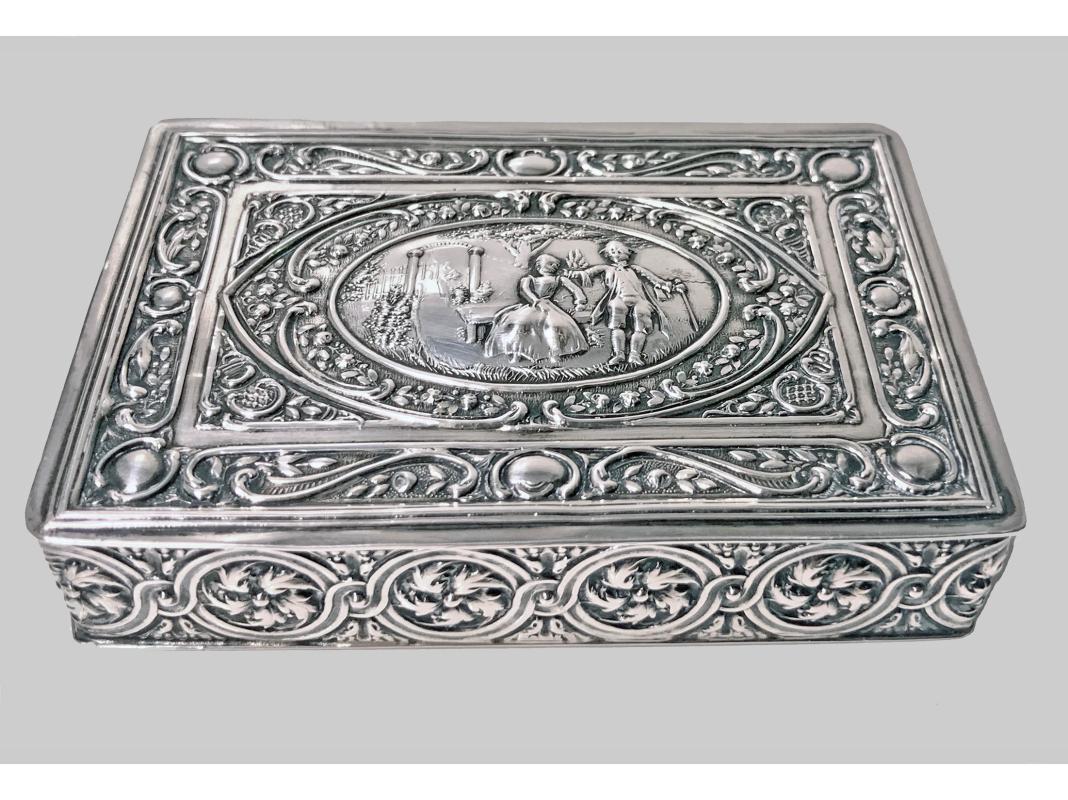19th Century Continental Solid Silver Box Johann Siegmund Kurz