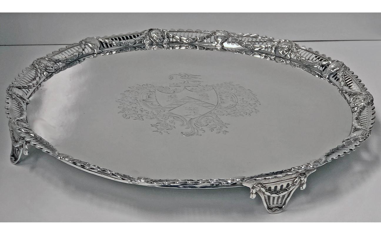 Large Georgian Sterling Silver Salver, London 1774 John Carter