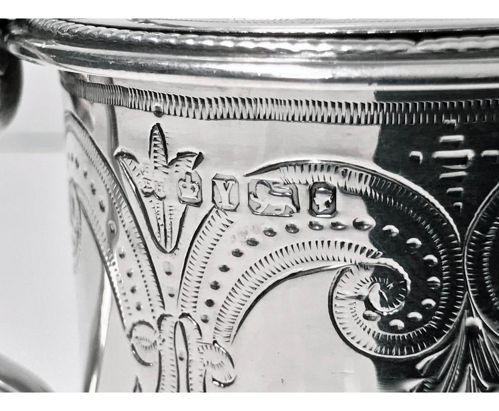 Antique Silver large Mustard Pot, 1866, Martin Hall & Co.