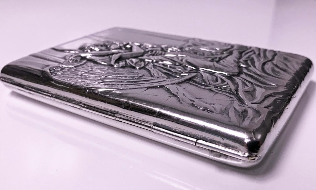 Russian Silver Cigarette Case Box, Konstantin Skvortsov, Moscow 1887-1908