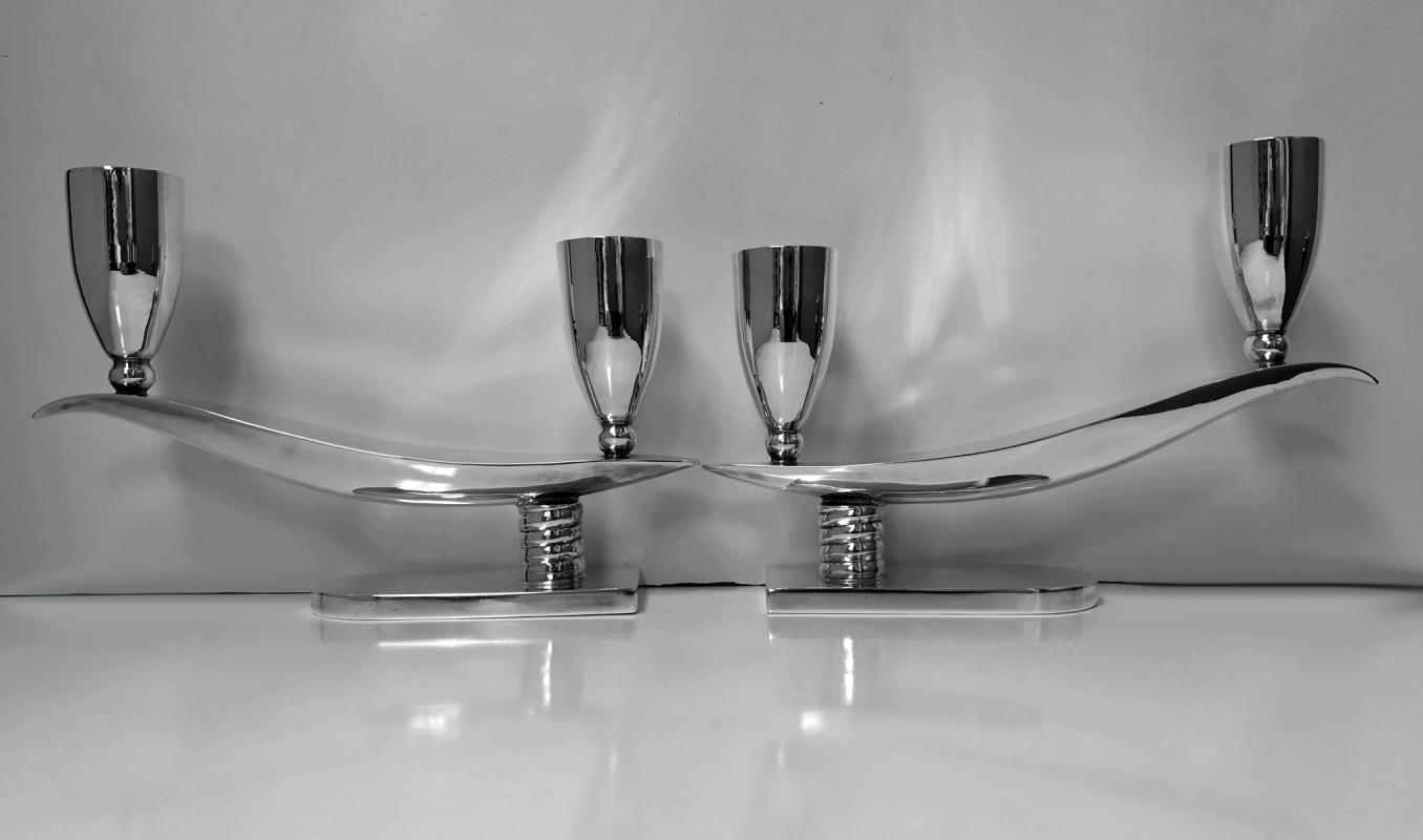 Pair Mid Century Mexican Sterling Silver Candelabra Candlesticks