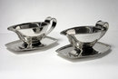 Pair Art Deco English Silver Sauceboats and stands, 1937 by S&W