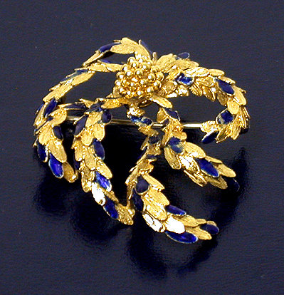 18K Gold and blue enamel Brooch
