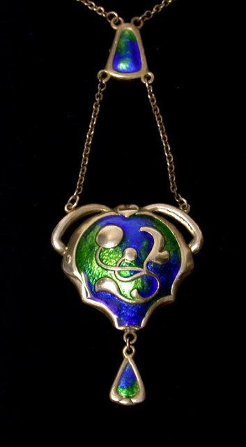 Charles Horner Arts and Crafts Enamel Pendant Necklace.