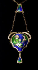 Charles Horner Arts and Crafts Enamel Pendant Necklace.