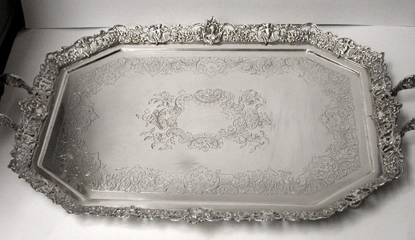 Barker Ellis Silver Plate and rosewood handled Tray, England C.1920.