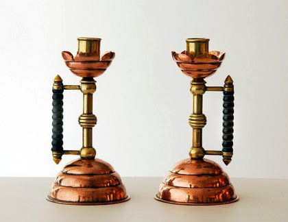 Christopher Dresser  mixed metal Candlesticks,  Benham & Froud,C.1880