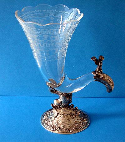 Continental Silver Vase, Cherub Cornucopia , Germany C.1880