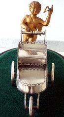 Silver Cherub sleigh Condiment ,  France C.1880.