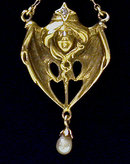 French Art Nouveau 18K, Pearl and Diamond Pendant, Henri-Auguste Solie, Paris C 1900