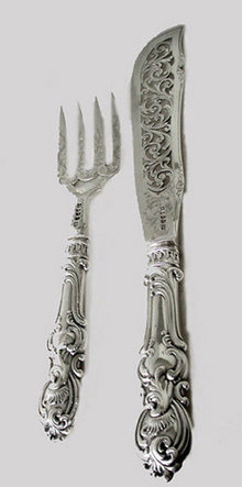 Antique Silver Fish Servers, Birmingham 1849