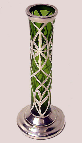 American Art Nouveau Sterling overlay Glass Vase C.1900