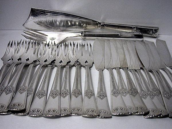 WMF 26 piece Silver Plate Art Nouveau Fish Service.