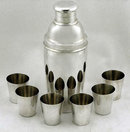 Rare Art Deco Sterling Silver Martini Cocktail Shaker Bar Set, C.1930.