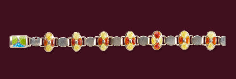 James Fenton Arts and Crafts Silver Enamel Bracelet, Birmingham 1909