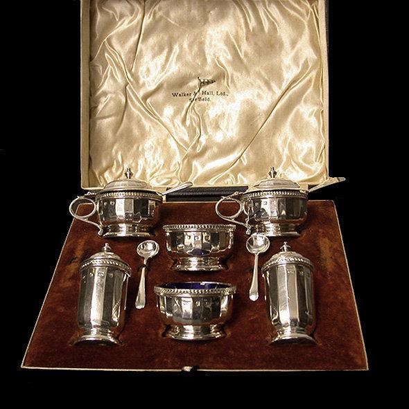 Art Deco English Silver Mustard, Peppers, Salts Condiment Set, Walker & Hall 1928