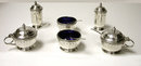 Art Deco English Silver Mustard, Peppers, Salts Condiment Set, Walker & Hall 1928