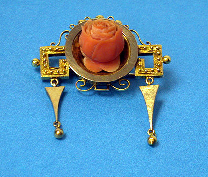 Antique Coral and Gold Brooch Pendant, C.1890