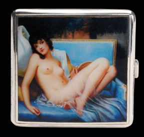 Art Deco English Silver Enamel Nude Cigarette Case, Birmingham 1932 Wm Neale & Sons