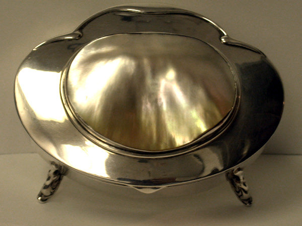 English Silver and Mother of Pearl Box, Birmingham 1905