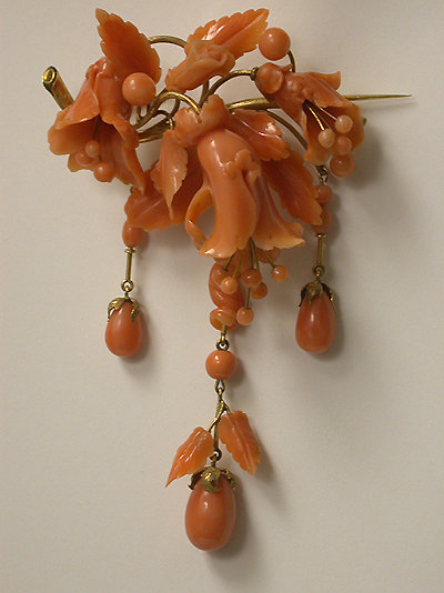 Large carved coral drop brooch, C.1850.
