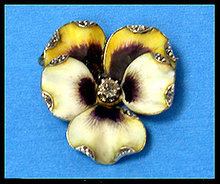 French Art Nouveau 18K enamel and diamond Pansy Brooch C.1890.