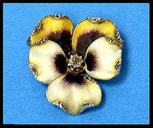 French Art Nouveau 18K enamel and diamond Pansy Brooch C.1890.