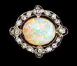 Murrle Bennett Edwardian Platinum 18K Opal Diamond Brooch, C.1910