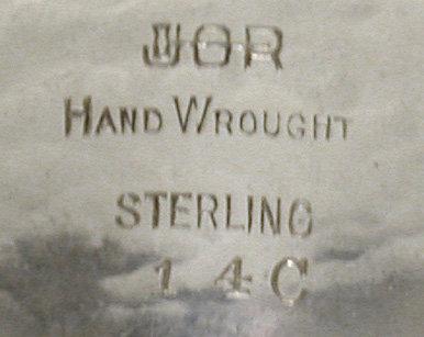 Randahl hand made hammered Sterling Bangle, Chicago C.1930.