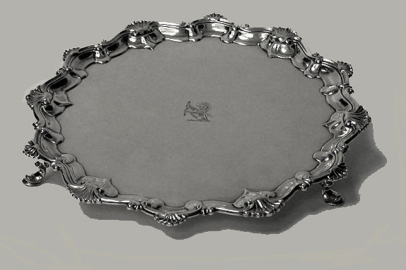 Georgian Silver Salver, London 1758, Richard Rugg.