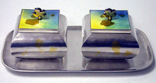 Rare Japanese Sterling Enamel Wasabi Ginger Condiments Cruet set