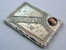 Aesthetic Silver  enamel card case, Birmingham 1880, Elkington.