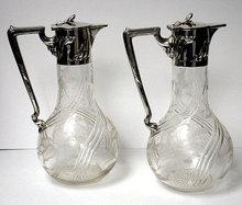 Pair  Art Nouveau Silver & Glass Claret Jugs, Germany C.1900 Wilhelm Binder